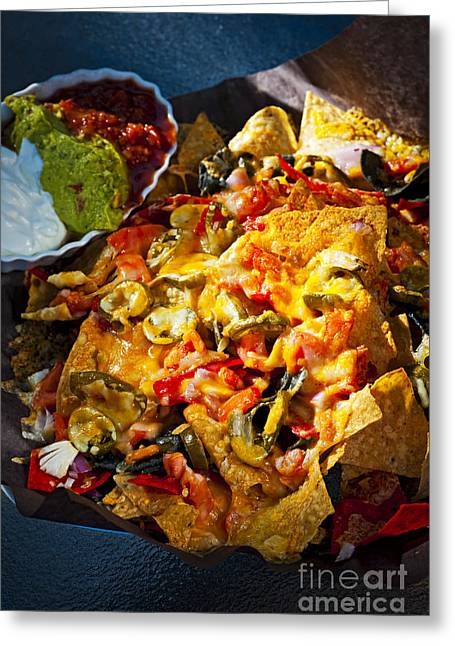 Sauce Greeting Cards - Nacho basket with cheese Greeting Card by Elena Elisseeva