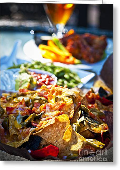Sauce Greeting Cards - Nacho plate and appetizers Greeting Card by Elena Elisseeva