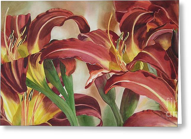 Reddish Greeting Cards - Nadines Lilies Greeting Card by Sharon Freeman