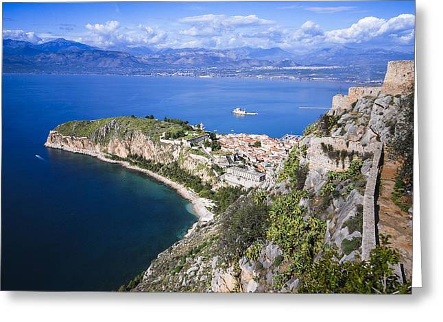 Nafplio Peninsula Greeting Card by David Waldo