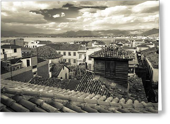 Byzantine Greeting Cards - Nafplio Rooftops Sepia Greeting Card by David Waldo