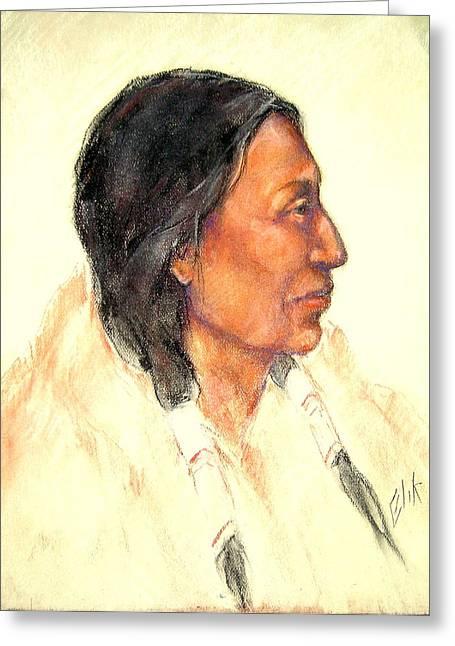 Native American Theme Greeting Cards - NahKa - Bear Woman Greeting Card by Johanna Elik