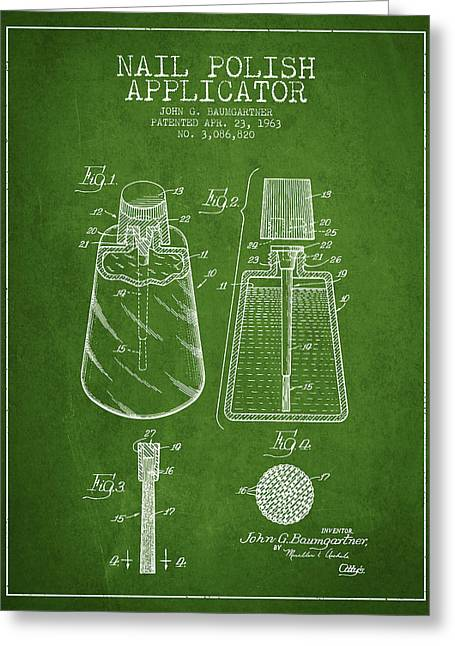 Nail Greeting Cards - Nail Polish Applicator patent from 1963 - Green Greeting Card by Aged Pixel