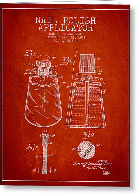 Nail Greeting Cards - Nail Polish Applicator patent from 1963 - Red Greeting Card by Aged Pixel