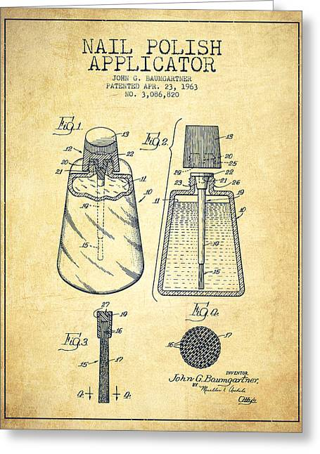 Technical Greeting Cards - Nail Polish Applicator patent from 1963 - Vintage Greeting Card by Aged Pixel