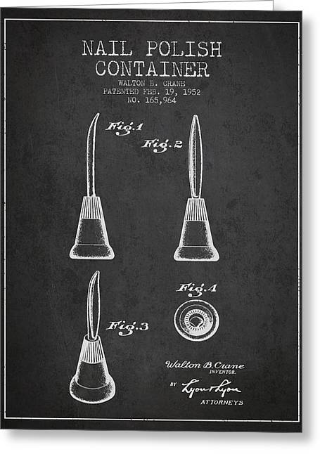Nail Greeting Cards - Nail Polish Container Patent from 1952 - Charcoal Greeting Card by Aged Pixel