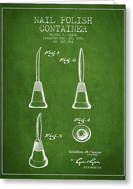 Nail Greeting Cards - Nail Polish Container Patent from 1952 - Green Greeting Card by Aged Pixel