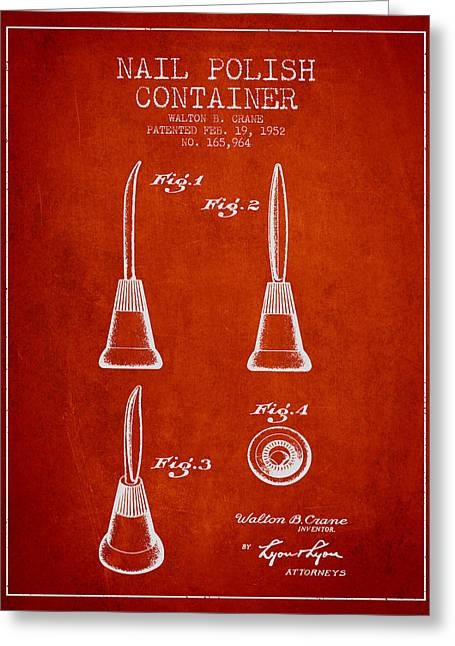 Nail Greeting Cards - Nail Polish Container Patent from 1952 - Red Greeting Card by Aged Pixel
