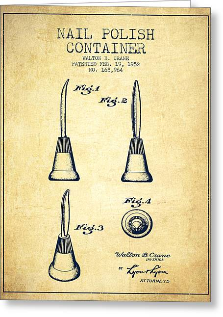 Nail Greeting Cards - Nail Polish Container Patent from 1952 - Vintage Greeting Card by Aged Pixel