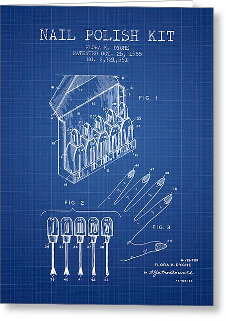 Nail Greeting Cards - Nail Polish Kit patent from 1955 - Blueprint Greeting Card by Aged Pixel