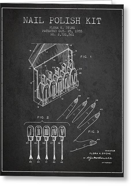 Nail Greeting Cards - Nail Polish Kit patent from 1955 - Charcoal Greeting Card by Aged Pixel