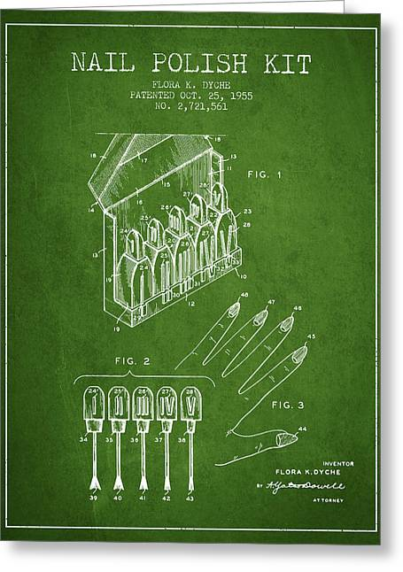 Nail Greeting Cards - Nail Polish Kit patent from 1955 - Green Greeting Card by Aged Pixel