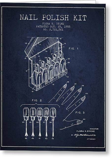 Nail Greeting Cards - Nail Polish Kit patent from 1955 - navy Blue Greeting Card by Aged Pixel