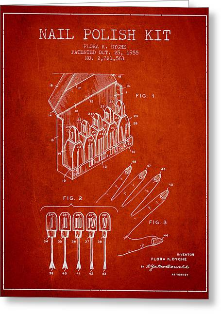 Nail Greeting Cards - Nail Polish Kit patent from 1955 - Red Greeting Card by Aged Pixel