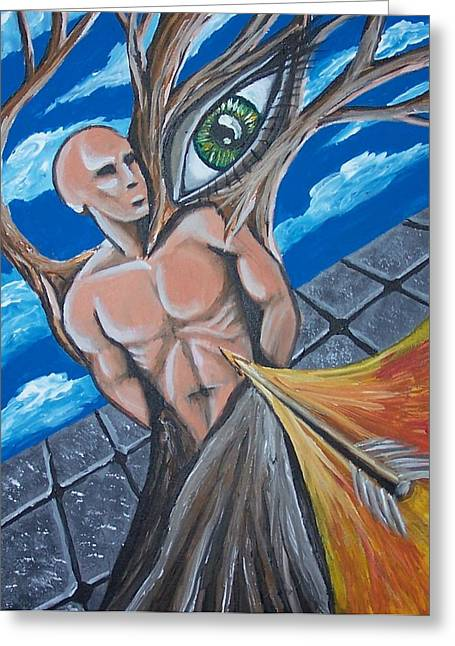 Inner Reality Paintings Greeting Cards - Nailed To A Cross Greeting Card by Jon D Gemma