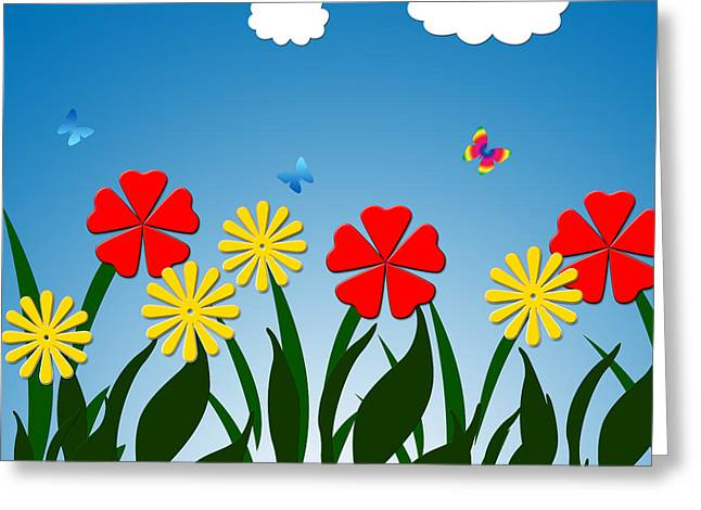 Computer Generated Flower Greeting Cards - Naive nature scene Greeting Card by Gaspar Avila