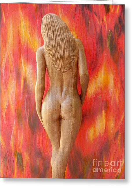 Art Sale Sculptures Greeting Cards - Naked Beauty - Walking into Fire Greeting Card by Carlos Baez Barrueto