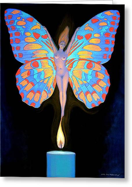 Transformations Paintings Greeting Cards - Naked Butterfly Lady Transformation Greeting Card by Sue Halstenberg