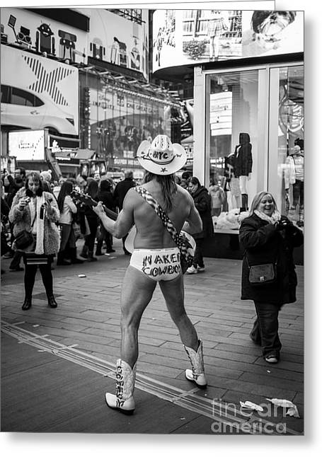Naked Photographs Greeting Cards - Naked Cowboy Times Square NYC Greeting Card by Edward Fielding
