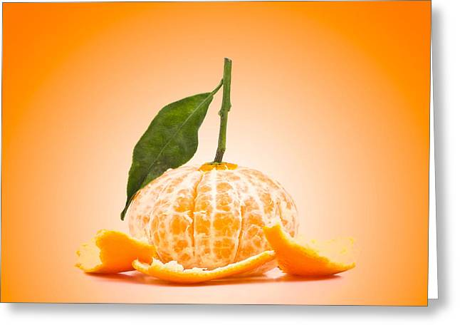 Healthy-lifestyle Greeting Cards - Naked Orange Greeting Card by Wim Lanclus