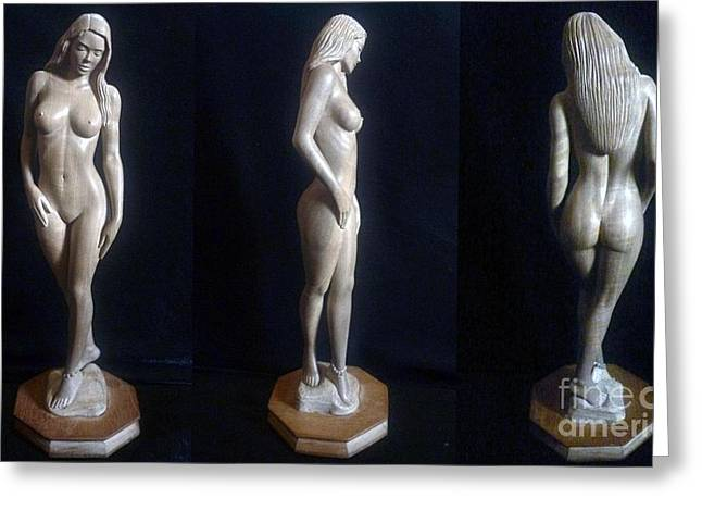 Art Sale Sculptures Greeting Cards - Naked Seduction - Wood Sculpture of Naked Woman Greeting Card by Carlos Baez Barrueto