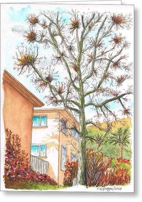 Selma Greeting Cards - Naked tree in Laurel and Selma Avenue - West Hollywood - California Greeting Card by Carlos G Groppa