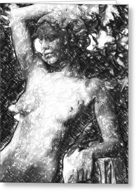 Center City Mixed Media Greeting Cards - Naked woman Greeting Card by Toppart Sweden