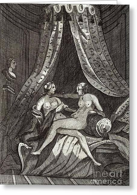 Lesbianism Greeting Cards - Naked Women, 17th Century Artwork Greeting Card by British Library