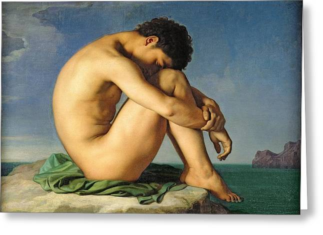Homoerotic Photographs Greeting Cards - Naked Young Man Sitting By The Sea, 1836 Oil On Canvas Greeting Card by Hippolyte Flandrin