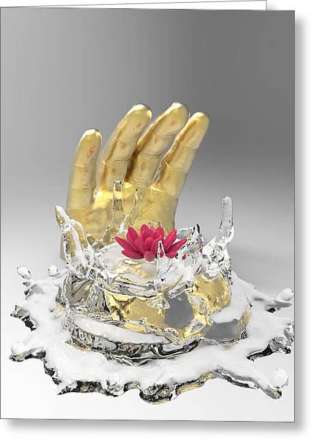 Hindu Goddess Greeting Cards - A Namaste Greeting Card by Barbara Ki