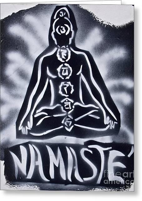 Metaphysics Greeting Cards - Namaste Black n White Greeting Card by Tony B Conscious