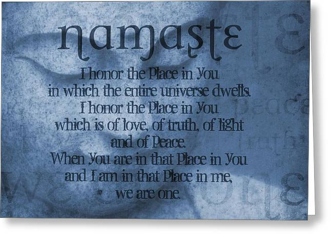 Best Sellers -  - Statue Portrait Greeting Cards - Namaste Blue Greeting Card by Dan Sproul