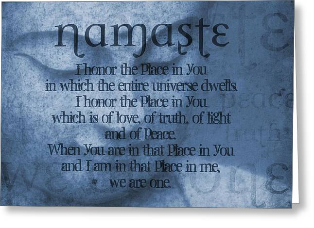 Statue Portrait Greeting Cards - Namaste Blue Greeting Card by Dan Sproul