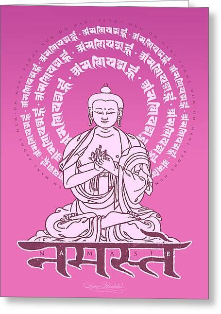 Buddha Tapestries - Textiles Greeting Cards - Namaste Buddha Blossom Greeting Card by Thomas Mattson