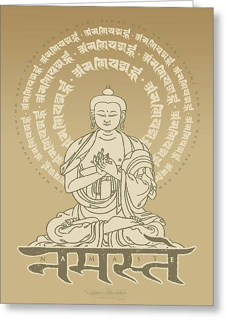Buddha Tapestries - Textiles Greeting Cards - Namaste Buddha Desert Tan Greeting Card by Thomas Mattson