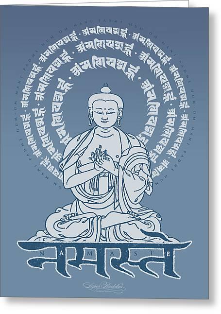 Buddha Tapestries - Textiles Greeting Cards - Namaste Buddha Indigo Greeting Card by Thomas Mattson