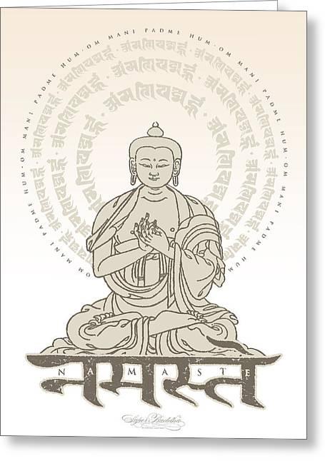 Buddha Tapestries - Textiles Greeting Cards - Namaste Buddha Ivory Greeting Card by Thomas Mattson