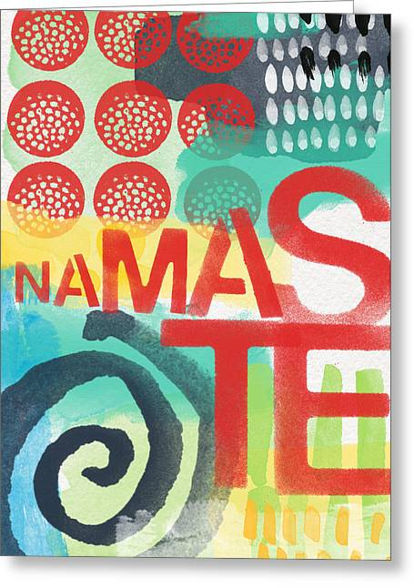 Namaste Greeting Cards - Namaste- Contemporary Abstract Art Greeting Card by Linda Woods