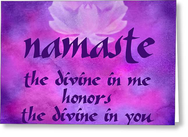 Crown Chakra Greeting Cards - Namaste Greeting Card by Ginny Gaura