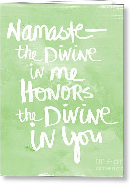 Writings Greeting Cards - Namaste green and white Greeting Card by Linda Woods