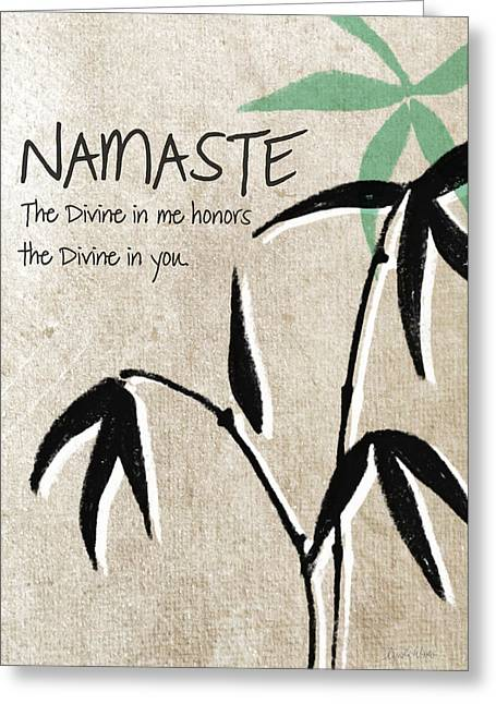 Organic Mixed Media Greeting Cards - Namaste Greeting Card Greeting Card by Linda Woods