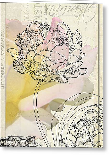 Love Letter Mixed Media Greeting Cards - Namaste Hydrangea Greeting Card by Adspice Studios