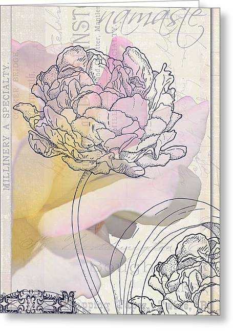 Love Letter Greeting Cards - Namaste Hydrangea Collage Greeting Card by Adspice Studios