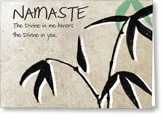 White Florals Greeting Cards - Namaste Greeting Card by Linda Woods