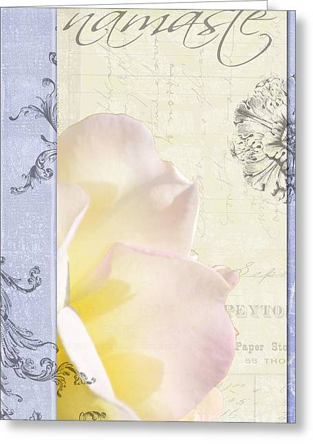 Love Letter Greeting Cards - Namaste Rose Collage 2 Greeting Card by Adspice Studios