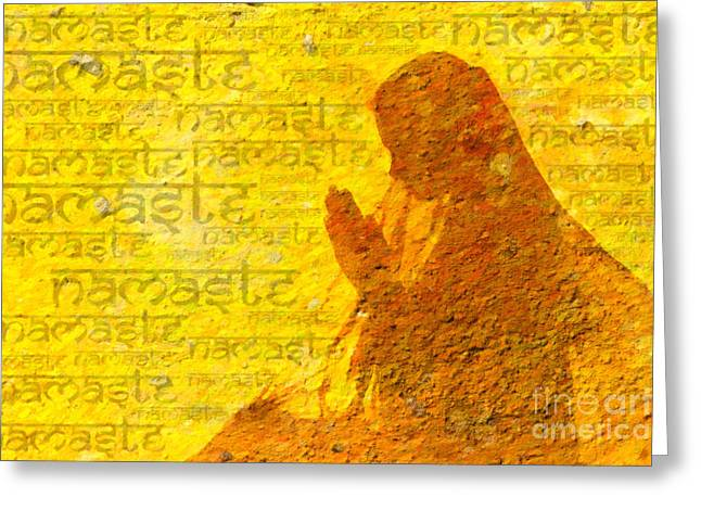 Sacred Digital Art Greeting Cards - Namaste  Greeting Card by Tim Gainey