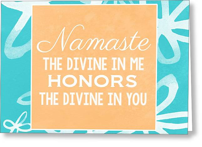 Namaste Greeting Cards - Namaste Watercolor Flowers- blue Greeting Card by Linda Woods