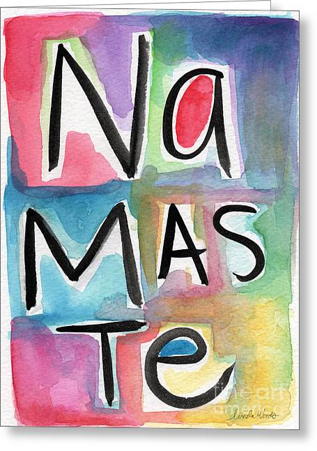 Namaste Greeting Cards - Namaste Watercolor Greeting Card by Linda Woods