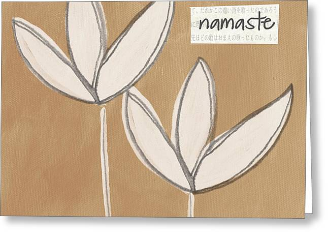 Blossoms Mixed Media Greeting Cards - Namaste White Flowers Greeting Card by Linda Woods