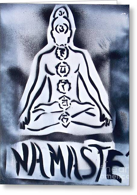 Metaphysics Greeting Cards - Namaste White n Black Greeting Card by Tony B Conscious